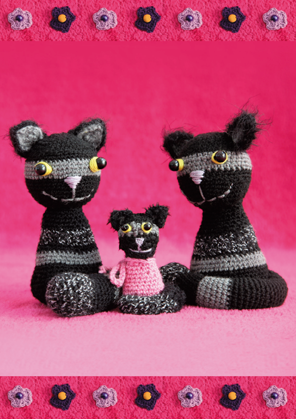 Three striped cats on pink